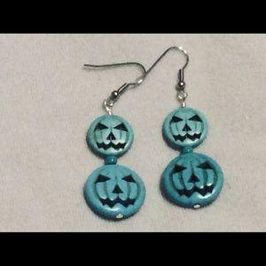 Jack O' Lantern Turquoise Blue Earrings
